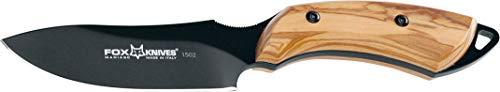 Cuchillo Fox European Hunter 1502 OL Hoja de Acero N690Co Tipo Drop-Point de 9,5 cm y empuñadura de Olivo de 11,5 cm...