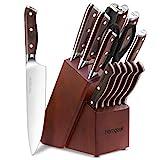 Cuchillos Cocina 15 Piezas, homgeek Juego de Cuchillos con Cuchillos de Carne, Hoja de Acero Inoxidable Pulido de Alta...