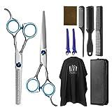 Frcolor - Juego de corte de pelo profesional, con tijeras para cortar el cabello, tijeras de entresacar, capa de...