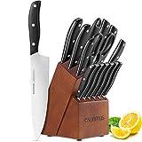 esonmus Cuchillos de Cocina Profesionales, 15 Piezas Juego de Cuchillos de Cocina, Hecho de Acero Alemán X50Cr15...