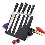 Juego de cuchillos con bloque magnético y soporte, juego de 6 cuchillos de cocina de acero inoxidable, color negro,...