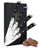 MAD SHARK Cuchillos para Carne Juego de 4 Cuchillos para Carne de 4,5 Pulgadas, Acero Inoxidable de Alto Carbono Alemán...