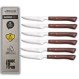 Arcos | cuchillos chuleteros arcos | cuchillo arcos madera | arcos cuchillo chuletero | 6 Piezas | juego cuchillos carne...