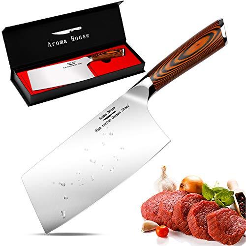 Macheta Cocina, Cuchillo de carnicero, Cuchillo asiático hecho del acero inoxidable carbonatado alemán alto, cuchillo...