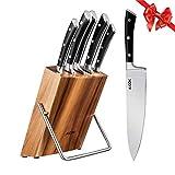 AICOK Juego de bloques de Cuchillo cocinero profesional | 6 piezas | Extra fuerte | acero inoxidable | mangos...