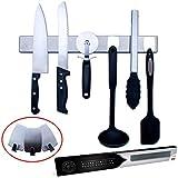 Barra Magnética para Cuchillos de 40 cm - Incluye 3 Ganchos para Utensilios no Metálicos   Opción de Montaje Sin...