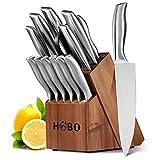 HOBO Juego de Cuchillos, Juego de Cuchillos de Cocina 14 Piezas con un Bloque de Madera, Juego de Cuchillos...