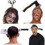 Ganeric - Bandas para disfraz de Halloween, 4 paquetes de hacha de plástico de goma y a través de la cabeza,...