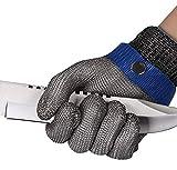 ThreeH Guantes de protección de seguridad Guantes de malla de acero inoxidable para cortar guantes de trabajo GL09 M(Un...