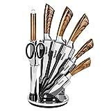 Velaze Juego de Cuchillos, Cuchillos de Cocina Profesional de Acero Inoxidable con Bloque Acrílico Giratorio, Marrón(8...