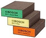 BOSCH 2608621253 - Esponjas abrasivas, pack de 3, 69x97x26mm, Naranja / Amarillo / Verde