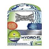 Wilkinson Sword Hydro 5 Sensitive - Recambio de Cuchillas de Afeitar de 5 Hojas para Hombres con Piel Sensible, Banda...