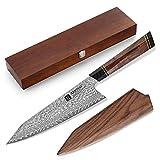 XINZUO 21.5cm Cuchillo de Chef Acero de Damasco, Cuchillo de Cocina Kiritsuke Forjado a Mano Japonés Profesional...
