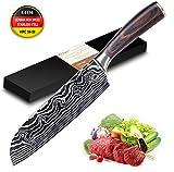 Joyspot Cuchillo Cocina, Cuchillo japonés Santoku, Cuchillo de Chef Profesional de 7 Pulgadas - Cuchillos alemanes de...