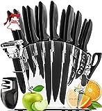 HomeHero Juego de 13 Cuchillos de Cocina con Soporte y Afilador   Utensilios de Acero Inoxidable para Profesionales y...
