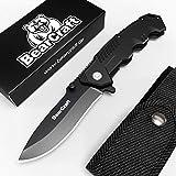 BearCraft Cuchillo Plegable Negro Mate con ** eBook Gratis **   Cuchillo de Bolsillo Supervivencia al Aire Libre  ...