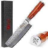 Sunlong SL-DK1049R - Cuchillo Usuba & Nakiri de borde fino de 16,5 cm, hecho con acero damasco VG10, perfecto para corte...