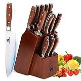 Vestaware - Juego de cuchillos de cocina, 16 piezas, con afilador de cuchillos, tijeras de cocina, madera de bloque, 6...
