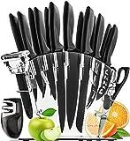 HomeHero Juego de 13 Cuchillos de Cocina con Soporte y Afilador | Utensilios de Acero Inoxidable para Profesionales y...