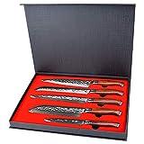 YARENH Set Cuchillos Cocina 5 Piezas,Juego de Cuchillos de Cocina Profesional de Acero Damasco Japones,Mango de Madera...