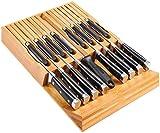 Utoplike Organizador de Cuchillero de Bambú para Cuchillos de Cocina Organizador y portacuchillas, Apto para 16...