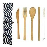 HMM Juegos de Cubiertos Reutilizables de bambú Natural, Cuchillo de bambú, Tenedor, Cuchara, Cepillo de Paja y Juego...