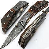 'Cuchillos de Damasco plegable –Navaja '8837personalizados hecha a mano Acero de Damasco Cuchillo Cuchillo de...