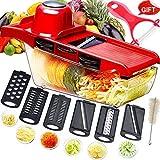 Mandolina cortadora multifuncional,cortador de verduras,trituradora de alimentos,picadora rallador,6 cuchillas afiladas...
