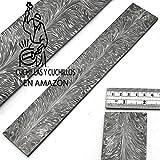Barra de acero para hacer cuchillos con patrón de plumas de damasco hecho a mano, diseño de plumas de damasco, barra...